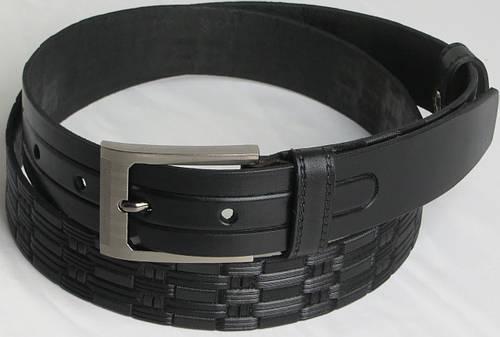 Брючный мужской кожаный ремень Skipper 5524 чёрный ДхШ: 134х3,5 см.