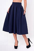 Стильная молодежная юбка-миди темно-синего цвета с кармашками