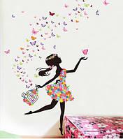 Наклейка виниловая Цветочная фея в танце 3D декор