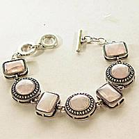 [15, 12 мм] Браслет с натуральным камнем Розовый кварц серый металл оправа крестик точка круглые камни, канатик прямоугольные камни