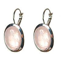 [22 мм] Серьги женские с камнем из розового кварца