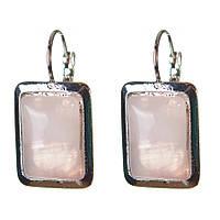[23 мм] Серьги женские с камнем из розового кварца