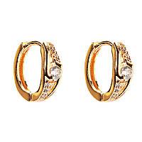 Xuping. Серьги круглые золотого цвета интересный дизайн вставки из страз