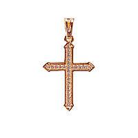 [30/18мм] Кулон Gold Крестик со стразами
