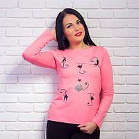 """Женский розовый свитшот с принтом """"Котики"""""""