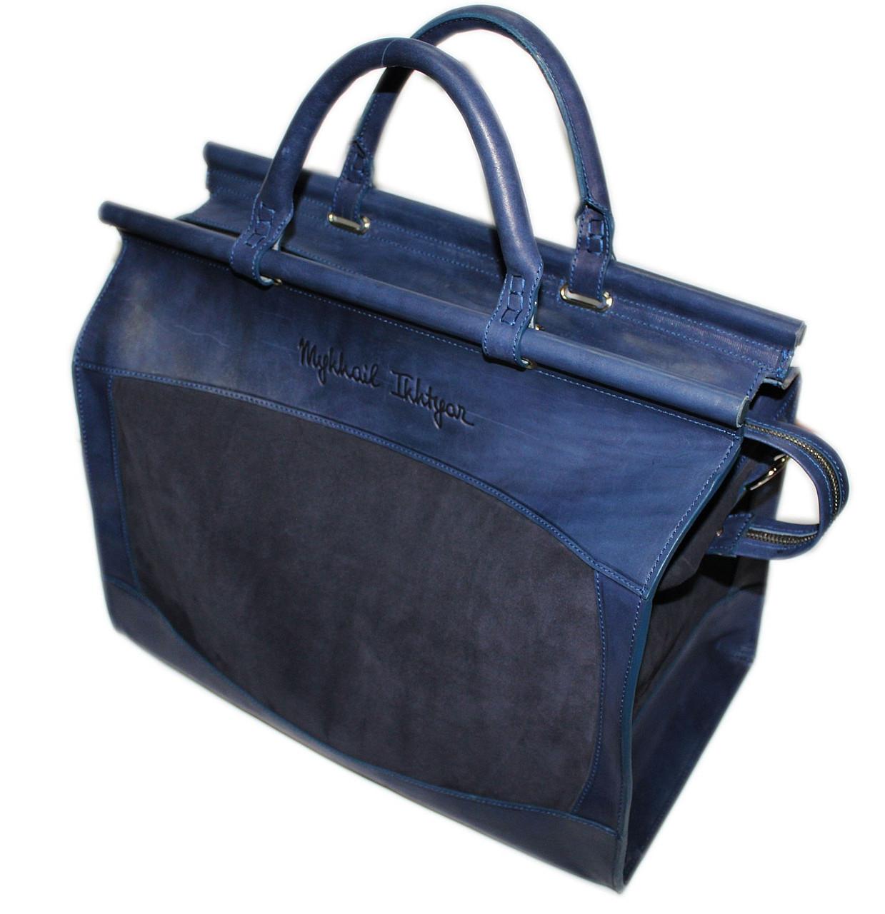 Стильный саквояж мужской дорожный кожаный 25 л. Mykhail Ikhtyar ДхГхВ: 44х18х40 см. синий