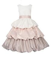 Атласное нарядное платье с многоуровневой юбкой  2-12 лет (3 цвета)