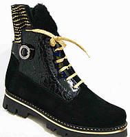 Ботинки женские стильные зима замша, женская обувь больших   размеров от производителя модель М35И286