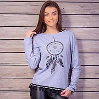 Женский свитшот с принтом и стразами, цвет - серый меланж