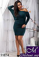 Платье женское коктельное темно-бирюзового цвета (48, 50, 52, 54) арт. 11814