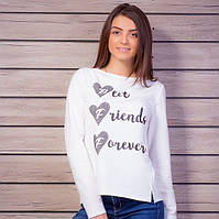Молодежный женский свитшот молочного цвета с принтом