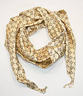 Стильный платок, косынка Gucci золотистый, атлас