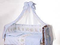Детская кроватка с ящиком, матрац, постельный комплект 9 предметов, опора для балдахина