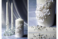 Свечи свадебные белые, набор 3шт
