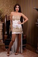 Очаровательное женское вечернее мини платье с кружевом и шифоновой юбкой в пол белое