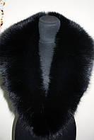 Меховой воротник  из песца черный bluefox blue fox big fur collar in black