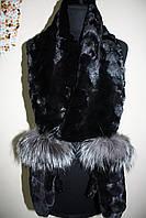 Меховые норковые варежки с отделкой из чернобурки с норковым шарфом sculptured mink fur mittens with fur scarf