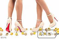 Туфли женские с ремешком искусственный лак