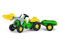 Трактор Rolly Toys на педалях Kid John Deere с прицепом и ковшом зеленый
