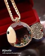 Кулон CRYSTAL FISH модная бижутерия декор кристаллы