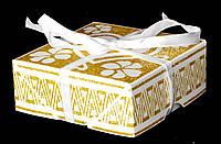 Упаковка подарочная c лентой белая с позолотой 02-S