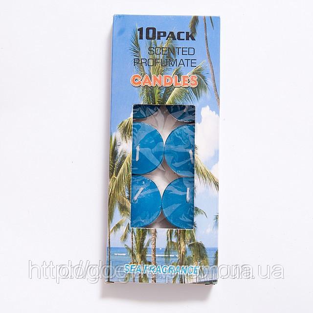 Свечи  плавающие чайные без запаха синие (10 штук)