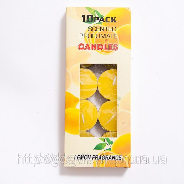 Свечи  плавающие цветные без запаха желтые (10 штук)