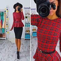 Женский модный костюм: блузка с баской + юбка