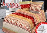 Комплект постельного белья Семейный Home Line 143х215 Бязь ИНДИАНА оранжевый нав. 70х70