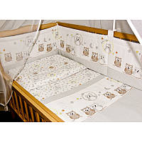 Детское постельное белье и защита (бортик) в детскую кроватку (сова клетка)