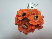 Мак оранжевый для украинского венка, диаметр цветка 40 мм, 1 шт.