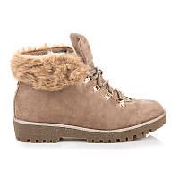 Замшевые ботинки женские зимние с мехом бежевого цвета