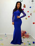 Женское стильное платье в пол с гипюровыми вставками (3 цвета)