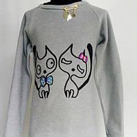 """Подростковая туничка """" Коты"""" для девочек от 6 до 12 лет.(рост128-158)"""