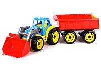 Трактор с ковшом и прицепом, детская машинка, пластик тм Технок