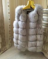 """Шикарный жилет из финского песца цвета колотый лед """"Marissa"""" 75 см, размеры в наличии"""