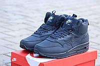 Мужские кроссовки Nike Airmax синие/ кроссовки мужские Найк Аирмакс, зимние, высокие, очень стильные