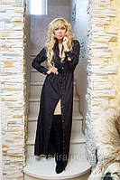 Черное длинное платье с застежкой в пол