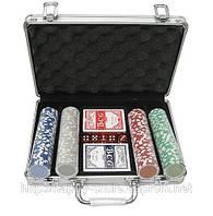 Покерный набор на 200 фишек без номинала в алюминиевом кейсе, подарок мужчине на 23 февраля