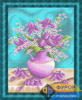 Схема для полной вышивки бисером на габардине. Арт. НБп3-104 Розово-сиреневый букет цветов