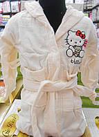 Детский махровый халат Hello Kitty кремовый Турция
