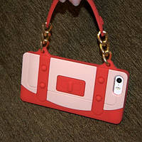 Чехол для iPhone 5 и 5s iPhone SE СУМОЧКА  красная, силикон