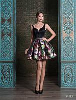Яркое вечернее платье до колена с пышной юбкой