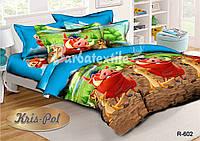 Детский комплект постельного белья 3D полуторный, ранфорс 100% хлопок. Тимон и пумба. (арт.6435)