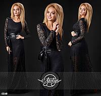 Вечернее черное  гипюровое платье в пол с кожаным поясом. Арт-9308/41