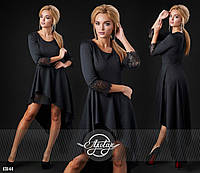 Стильное коктельное черное  платье с кружевом. Арт-9311/41