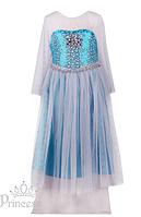 Карнавальное платье с белыми рукавами и длинным шлейфом для девочек