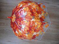 Зонт зонтик прозрачный трость, полуавтомат Листики