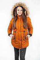 Куртка парка женская М4 с опушкой горчица