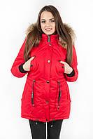 Куртка парка женская М3 с опушкой красная